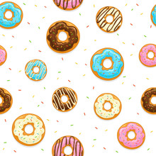 Seamless Background With Donuts And Colorful Sprinkles