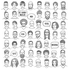 Set Of Fifty Hand Drawn Male Faces, Diverse Portraits Of Men Of Different Ethnicities,  Black And White Ink Illustration