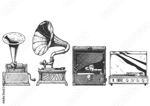 Fotomural Vintage phonograph and gramophone set