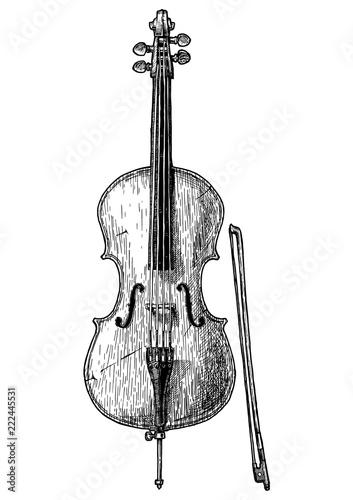 Foto Vintage illustration of Cello