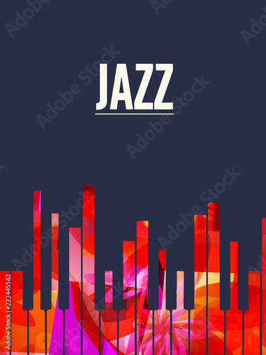 Jazz music background with colorful piano keys vector illustration Wallpaper Mural