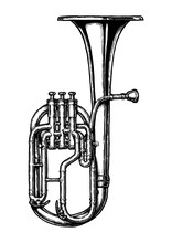 Vintage Illustration Of Tenor Horn