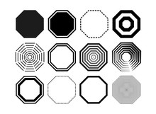 Set Of Octagon Icon Pack. Geometry Octagonal Black Eight Sided Polygon Octagon Line. Vector Illustration. Isolated On White Background.