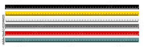 Obraz Set of measure tape ruler metric measurement. Metric ruler. 50 centimeters metric ruler with black, yellow, gray, red and gray blue color. Vector illustration. Isolated on white background. - fototapety do salonu