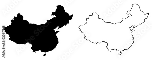 Obraz na plátně Simple (only sharp corners) map of China vector drawing