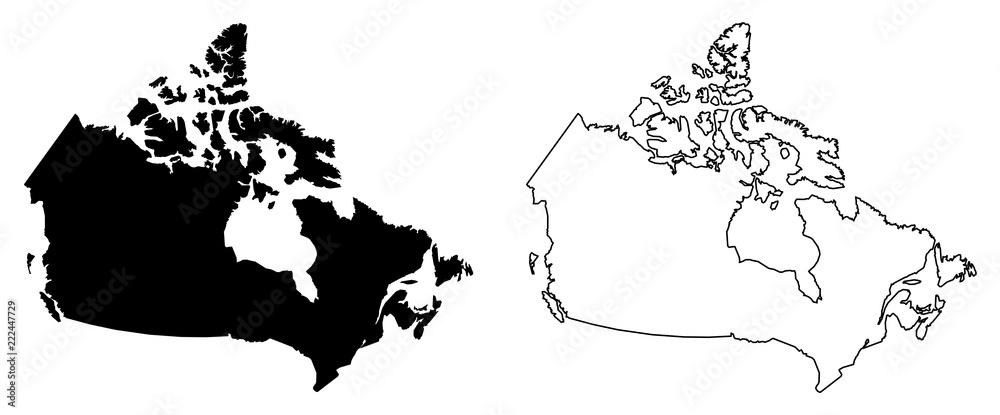 Simple Map Of Canada.Photo Art Print Simple Only Sharp Corners Map Of Canada Vector