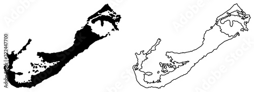 Photo Simple (only sharp corners) map of Bermuda vector drawing