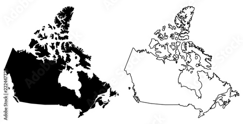 Simple Map Of Canada.Simple Only Sharp Corners Map Of Canada Vector Drawing Lambert