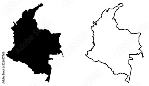 Fototapeta Simple (only sharp corners) map of Colombia vector drawing