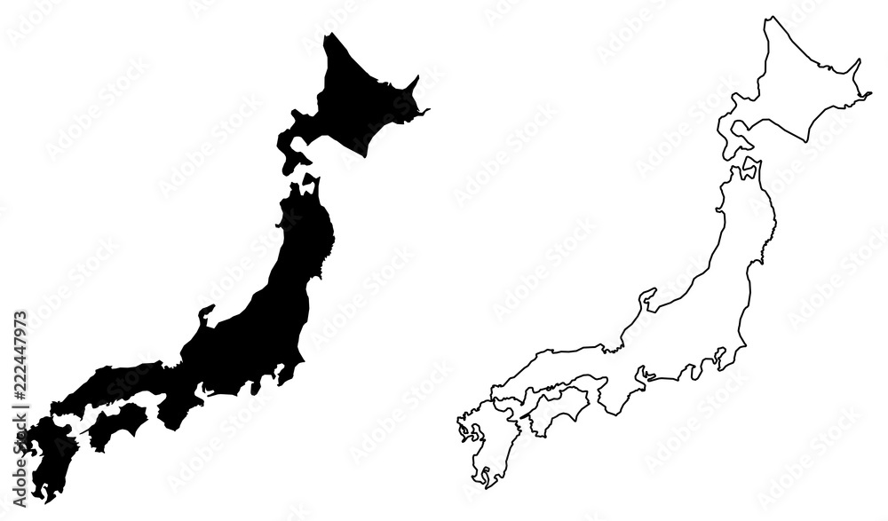 Fototapety, obrazy: Simple (only sharp corners) map of Japan vector drawing. Filled and outlined version.