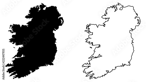 Photo Simple (only sharp corners) map of Ireland (whole island, including northern British part) vector drawing