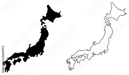 Fotografía  Simple (only sharp corners) map of Japan vector drawing
