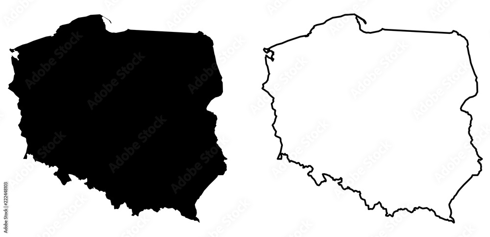 Fototapety, obrazy: Simple (only sharp corners) map of Poland vector drawing. Mercator projection. Filled and outline version.
