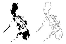 Simple (only Sharp Corners) Map Of Philippines Vector Drawing. Mercator Projection. Filled And Outline Version.