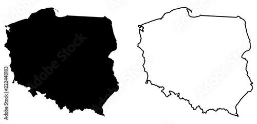 Prosta (tylko ostre rogi) mapa Polski rysunek wektorowy. Projekcja Mercator. Wersja wypełniona i konturowa.