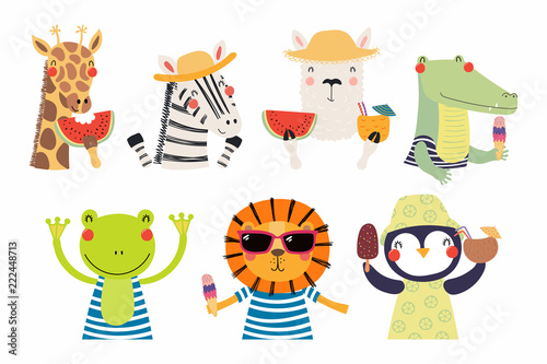 Set of cute funny summer animals in hats, sunglasses, with watermelon. Isolated objects on white background. Hand drawn vector illustration. Scandinavian style flat design. Concept for children print.