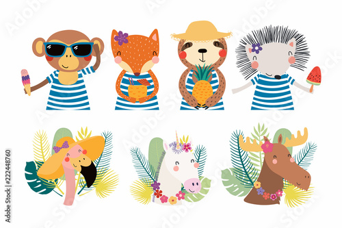 Set of cute funny summer animals in hats, sunglasses, with ice cream. Isolated objects on white background. Hand drawn vector illustration. Scandinavian style flat design. Concept for children print.