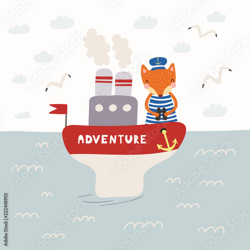 Printed kitchen splashbacks Illustrations Hand drawn vector illustration of a cute funny fox sailor on a steamboat. Childish ocean landscape with seagulls, clouds, waves. Scandinavian style flat design. Concept for children print.