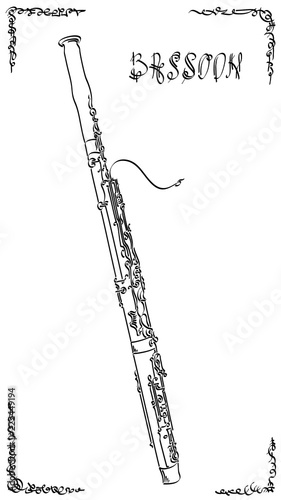 Photo Vector abstract illustration drawing of bassoon.