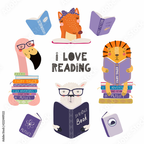 In de dag Illustraties Set of cute funny animals with books, lion, llama, flamingo, fox, with quote. Isolated objects on white background. Hand drawn vector illustration. Scandinavian style flat design. Concept kids print.