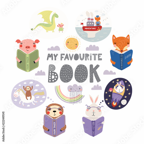 Photo Stands Illustrations Set of cute funny animals with books, bunny, sloth, fox, pig, with quote. Isolated objects on white background. Hand drawn vector illustration. Scandinavian style flat design. Concept children print.