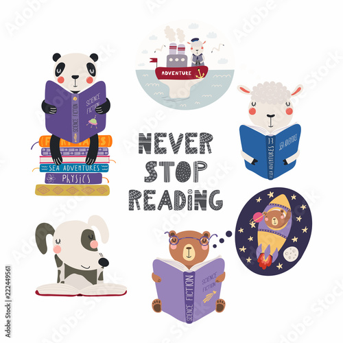 Papiers peints Des Illustrations Set of cute funny animals with books, bear, panda, sheep, dog, with quote. Isolated objects on white background. Hand drawn vector illustration. Scandinavian style flat design. Concept children print.