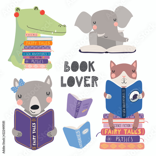 Deurstickers Illustraties Set of cute funny animals with books, cat, wolf, crocodile, elephant, with quote. Isolated objects on white. Hand drawn vector illustration. Scandinavian style flat design. Concept for children print.