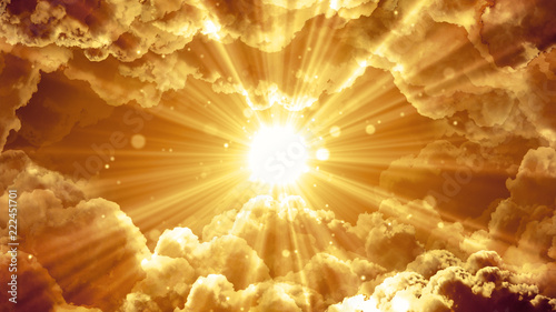 Canvas Print Worship and Prayer based cinematic clouds and light rays background useful for divine, spiritual, fantasy concepts