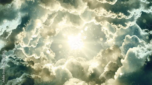 Fényképezés Worship and Prayer based cinematic clouds and light rays background useful for divine, spiritual, fantasy concepts