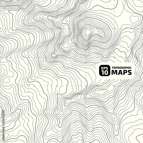 Poster Blanc The stylized height of the topographic contour in lines and contours. The concept of a conditional geography scheme and the terrain path. Vector illustration.