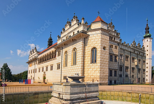 Foto op Aluminium Oude gebouw Beautiful Litomysl Castle by sunny day. One of the largest Renaissance castles in the Czech Republic. A UNESCO World Heritage Site. Sgraffito painting in the walls. Litomysl, Czech Republic
