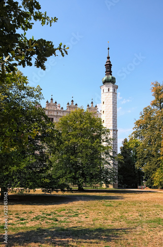 Foto op Aluminium Oude gebouw High tower in Litomysl Castle by sunny day. One of the largest Renaissance castles in the Czech Republic. A UNESCO World Heritage Site. Sgraffito painting in the walls. Litomysl, Czech Republic