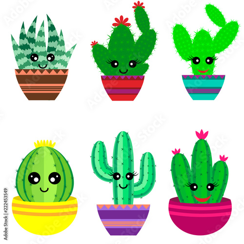set of cute cartoon cactus and succulents with funny faces in pots