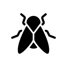 Silhouette Of Fly. Insect, Nature Icon. Black On White Background