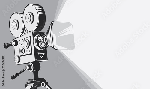 Vector black and white background with lighting old fashioned movie camera on the tripod Canvas Print
