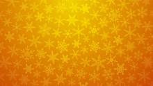Christmas Illustration With Various Small Snowflakes On Gradient Background In Yellow Colors