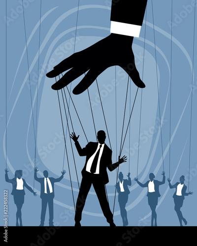 Obraz na plátně Silhouettes of business puppets