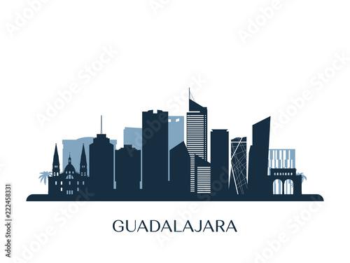 Guadalajara skyline, monochrome silhouette. Vector illustration.