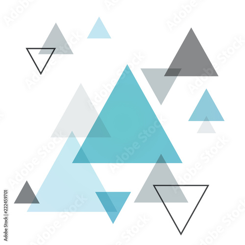 Abstract Scandinavian background from blue triangles Tableau sur Toile