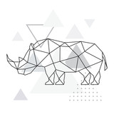 Polygonal rhino on abstract background with triangles. Geometric style poster. Wild Animal vector illustration. - 222460523