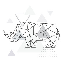 Polygonal Rhino On Abstract Background With Triangles. Geometric Style Poster. Wild Animal Vector Illustration.