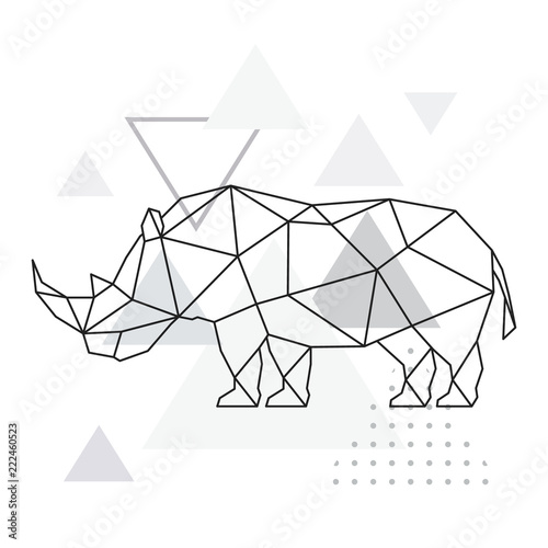 Fotomural Polygonal rhino on abstract background with triangles