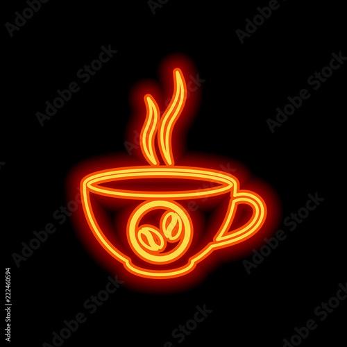Fotografie, Obraz  cup of hot coffee icon. Orange neon style on black background. L