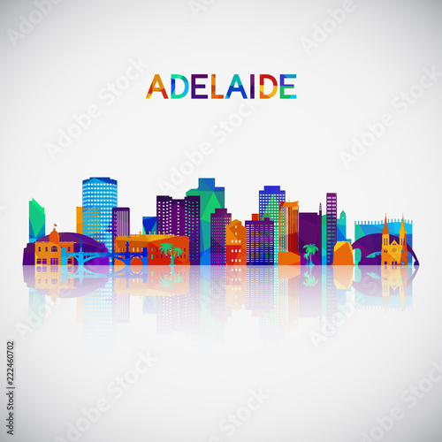 Adelaide skyline silhouette in colorful geometric style Canvas Print