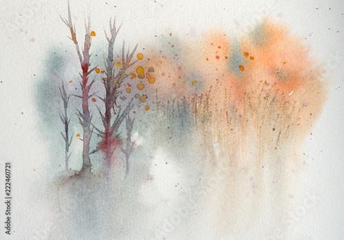 jesienia-akwarela-drewna