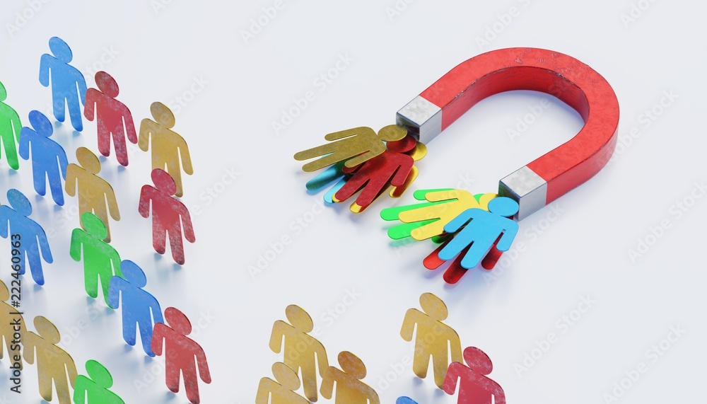 Fototapeta Attraction of potencional clients with magnet. Marketing concept. 3D rendered illustration.