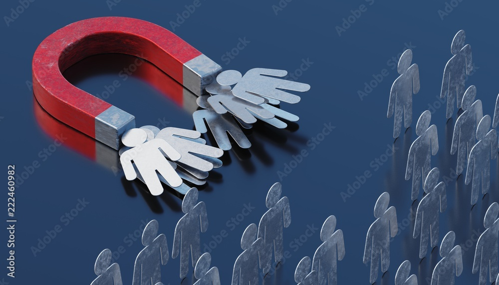 Fototapety, obrazy: Strong magnet is targeting and attracting clients. Marketing concept. 3D rendered illustration.