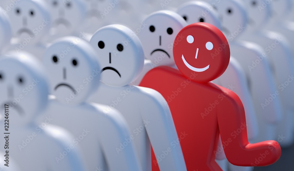 Fototapety, obrazy: One happy man is out of crowd of many sad people. 3D rendered illustration.