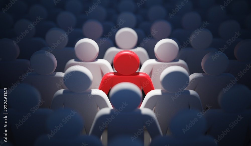 Fototapeta Liadership, difference and standing out of crowd concept. 3D rendered illustration.
