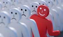 One Happy Man Is Out Of Crowd Of Many Sad People. 3D Rendered Illustration.
